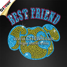 Best Friend Dog Pattern Rhinestone Custom Iron on Transfers