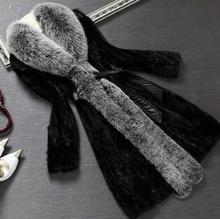 High fashion womens winter coats faux mink fur coat 2015women winter jacket with fur collar black long jackets