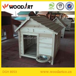 Log grade wood dog House with feeder bowl