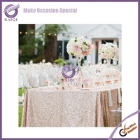 """18804 Fancy Shiny Glitter Gold Sequins 132"""" Round Table Cloth"""