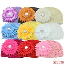 Cheap crochet knitted hats animal for children baby fashion daisy flower crochet hats handmade beanie hats for sale