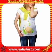 2015 custom plus size printing short sleeve cotton/spandex t-shirts casual wear for pregnant women