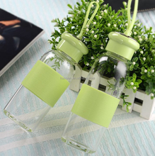 High Borosilicate 350ml Glass Water Bottle with Silicone Band
