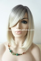 Wholesale ombre synthetic wigs two tone lace front short grey bob wigs with bangs