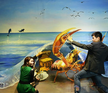 3D sea side magic oil painting