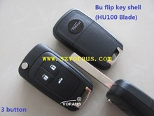 new Buick 3 button remote flip key shell (HU100 Blade)