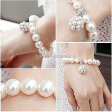 Fashion popular in Europe elegant CCB beads fake pearl bracelet for ladies