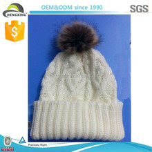 2015 New Design Warm Winter Beanie, Striped Wool Knit Beanie Hat With Fur Pom Poms