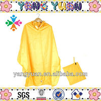 Waterproof Yellow PVC Bicycle Rain Poncho in Pocket