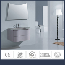 WUXING charming tempered clear glass countertop basin soft curved PVC bathroom cabinet with mirror bathroom mixers and taps