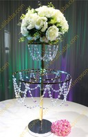 2 Tiered Beautiful Hanging Crystal wedding Centerpiece , flower Crystal stand