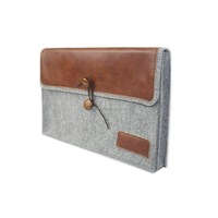J.M.SHOW Notebook Sleeve Bag Envelope PU Leather Case Wool Felt Sleeve 14 inch for Pro 13 inch(Brown)