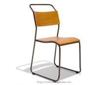 Stackable Gunmetal vintage Steel and Wood Chair KF-C217
