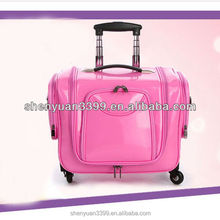 Pink professional Large multi-layer cosmetics trolley luggage female universal wheels travel bag car storage box