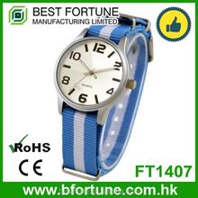 FT1407_LBL Shenzhen multiple colors nylon Arabic numbers three hands quartz watch