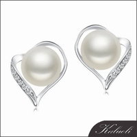 2015 jewelry earring models 925 silver and real pearl bead