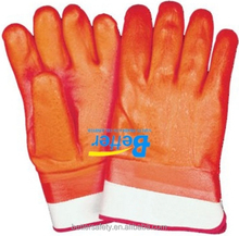 Safety Cuff Foam & Interlock Lined Red PVC Safety Glove Direct Buy China