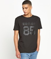 fashion round neck printed design black men's t shirt with side zip