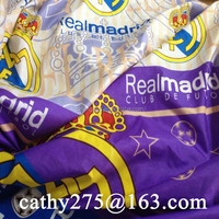 Polyester microfiber Real Madrid design print bed sheet fabric bedding fabric quilt mattress duvet bedspread fabric