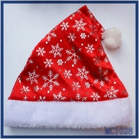 2015christmas gifts for lovely kids classial design gold snowflake red fabric white soft cotton christmas hat