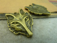 25x32mm Antique Bronze Lovely Thick Wolf Head Charms Pendant C3441 charm