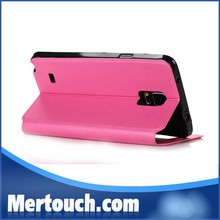 Smart cute window view holder flip leather phone case for samsung galaxy note 4 wholesale price