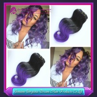 3PCS/Lot #1b/purple Ombre Peruvian Body Wave Hair,Wholesale Unprocessed Human Ombre Hair Weaves, Peruvian Virgin Hair Extention