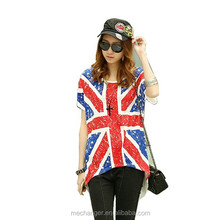casual young girl t shirt street fashion t shirt 100% cotton round collar short sleeve t shirt with Britain flag printed