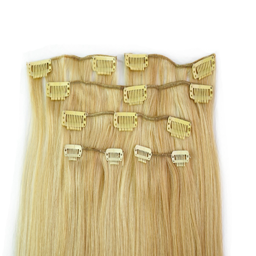 Charming Human Authentic Clip In Remi Gold Hair Extensions 14 22