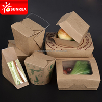 Microwave safe kraft paper burger and sandwich boxes