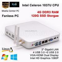 Dual RJ45 LAN 12V Laptop Computer Intel Celeron 1037u Core Fanless Mini PC Windows 7 4G RAM 120G SSD HDMI Blu-ray 1080P Player