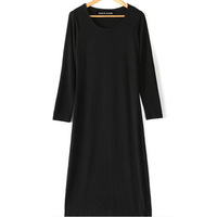 2015 free size solid long style simple and fashion long sleeve girls' latest dress design,2015 solid long styl