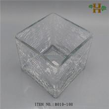 crackle square block glass vase for wedding