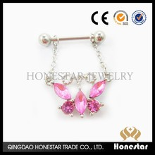 Wholesale nickel free butterfly surgical nipple ring chain piercing