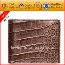 Crocodile skin shaped genuine leather wallet