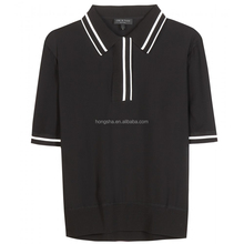 Silk Polo T-shirt Contrasting White Trims Collar Golf Shirt HST1232