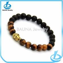 Black lava stone buddha charm tiger eye bracelet