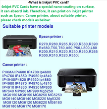 MDI16 CR80 blank inkjet pvc ID card for Epson and Canon Printer, Double coating card