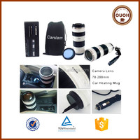 2016 FDA Creative Design Camera Lens Shape Stainless Steel Car Electric Coffee Cup Warmer