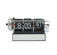 Haweel Skeleton Metal Digital Auto Flip 3 Pages Clock Desktop with Decorative Clock Alarm Clock- Internal Gear Operated