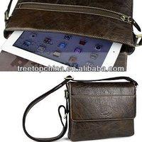 Multifunctional mens genuine Leather Shoulder Bag for 10inch tablet pc