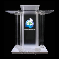 cheap acrylic church lectern church pulpits,conference podium with cross