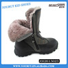 Genuine fur leather snow kids boots, top quality children winter shoes