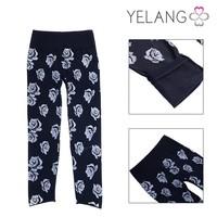 wholesale winter warm black thinck rose pattern pants