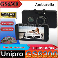 Car DVR Ambarella GS6300 rearview mirror1920*1080P 3.0 Inch Screen GPS G-Sensor 170 Degree Angle Lens with Night Vision Function