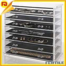 7-drawer display racks Acrylic Jewelry display case with Removable Drawers and Liners