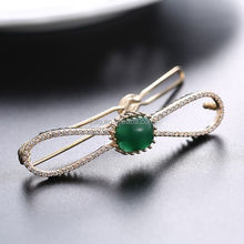 Neoglory Accessories Beautiful Green and Blue Zircon Crystal Vertical Clip Hair Pin