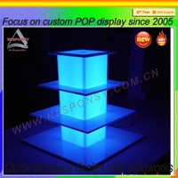 three tiers acrylic case pop cupcake LED display stand