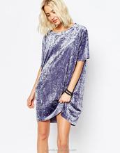 Crushed Velvet T-Shirt Dress,Girls Velvet Sexy Dress,School Girls Uniform Mini Dress