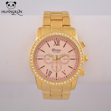 Pink dial inner ring gold tone classical watch women
